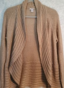 Chico's Gold Knit Open Front Cardigan Size 1